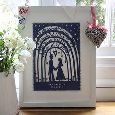 personalised wedding papercut or art print by mimi & mae   notonthehighstreet.com