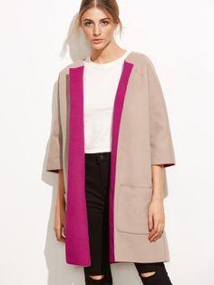 Pink Two Tone Three Quarter Sleeve Pocket Collarless Coat