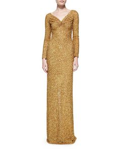 Long-Sleeve Sequined Column Gown by Marc Bouwer at Neiman Marcus.