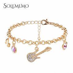 SOLEMEMO Cute Guitar Bracelet Bangles Rhinestone Gold Charm Bracelet for Women Girls Silver Chain Bracelet Fashion Jewelry B0746 #Affiliate