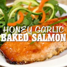 Healthy Meals Honey Garlic Baked Salmon - One of the easiest and tastiest salmon recipes you'll ever make! Just 15 minutes in the oven and you have a delicious, healthy meal. Oven Baked Salmon, Baked Fish, Baking Salmon In Oven, Glazed Salmon, Heart Healthy Recipes, Healthy Snacks, Heart Healthy Diet, Healthy Recipe Videos, Healthy Dinners