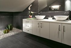 Barrique Series Noir Wood Plank Porcelain - traditional - bathroom - orange county - Tile-Stones