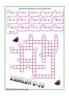 Zahlen - Kreuzworträtsel
