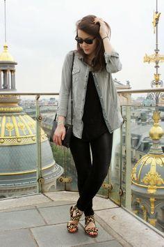 C B C M G: Oh, Paris - Stradivarius army shirt - Zara tshirt and gray skinny jeans - Topshop leopard sandals - Mango black crossbody bag