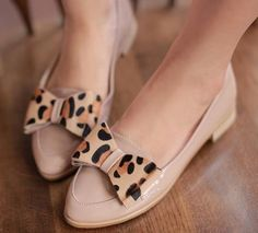 Ladies Womens Patent Horsehair Leopard Bow Pointed Toe Flat Loafer Shoes #799 | eBay