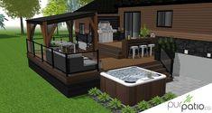 Hot Tub Garden, Hot Tub Backyard, Backyard Gazebo, Pergola, Screened Porch Designs, Outdoor Patio Designs, Outdoor Projects, Mini Pool, Hot Tub Surround