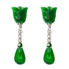 $2550 Imperial Jade/Diamond Earrings  via boutiika.com