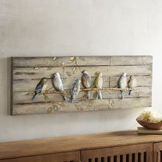 A flock of friendly warblers comes home to roost at your place. Our artwork& charming scene is painted on a weathered-wood background and would look perfect perched over a window where the sun streams in. Feather Art, Bird Feathers, Cheap Home Decor, Diy Home Decor, Come Home To Roost, Deco Zen, Wood Background, Weathered Wood, Diy Wall Decor