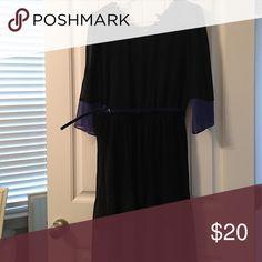 Black dress Alum black dress. Slip with sheer overlay. Blue detail in sleeve and bottom hem. Pleated skirt and blue belt.  Worn one time for a wedding. alyx Dresses Long Sleeve