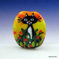 """""""FLOWER POWER"""" byKAYO a Handmade GARDEN CAT Lampwork Art Glass Focal Bead SRA #Lampwork"""