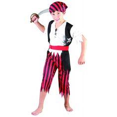 Déguisement pirate garçon Bandana rayé rouge et noir !