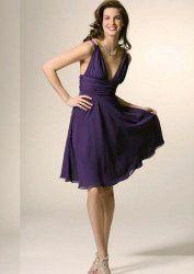Deep V-neckline purple chiffon cocktail dress by www.thebestgown.com