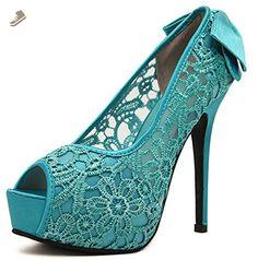 Easemax Women's Elegant Stiletto High Heel Platform Bowknot Low Top Cut Out Pumps Shoes Green 4 B(M) US - Easemax pumps for women (*Amazon Partner-Link)