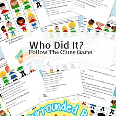 Who Did It? Free Printable Guessing Game And Crime Solving Worksheets This is a game about using those deductive problem solving skills. There are two activities in the pdf. One is worksheets with a line up of suspects and clues to solve the case there ar Mystery Games For Kids, Free Games For Kids, Spy Kids, Guessing Games For Kids, Secret Agent Activities For Kids, Mystery Board Games, Puzzles For Kids, Printable Games For Kids, Printable Board Games