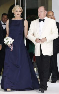 Parents-to-be...Prince Albert II of Monaco and wife Princess Charlene arrive at the 66th Red Cross Ball at the Sporting Club Salle des Etoiles in Monaco on 01.08.2014