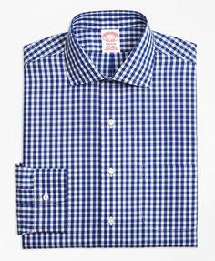 Non-Iron Madison Fit Gingham Dress ShirtBlue
