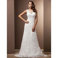 gaine / colonne v-cou tribunal train robe de mariée en dentelle – EUR € 164.99