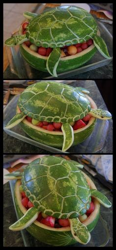 Watermelon Sea Turtle so cute for fruit salad! Great for a beach, ninja turtle, or little mermaid themed parties!