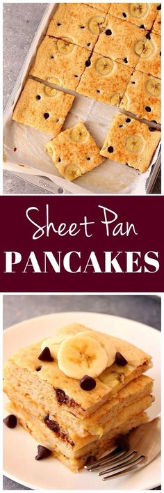 Sheet Pan Pancakes Recipe – the fastest way to make pancakes! Topped with bananas and chocolate and baked to fluffy squares, these pancakes are a must for a weekend breakfast!