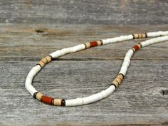 Mens Necklace  Heishi Necklace  Beaded by StoneWearDesigns on Etsy, $46.00
