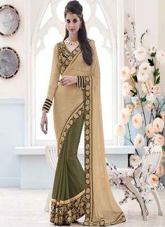 Classy Cream Mehandi Embroidery Work Satin Lycra Net Designer Sarees #Wedding #Bridal #designer #Saree http://www.angelnx.com/Sarees