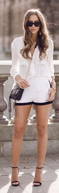 IvyRevel White Black edges Shorts by Kenzas