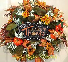 Fall Deco Mesh Wreath, Autumn Wreath, Harvest Wreath, Give Thanks Wreath,Deco Mesh Wreath, Scarecrow Wreath, Green and Gold Wreath by LadySlipperWreaths on Etsy