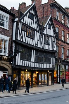 "Sir Thomas Herbert's House - a Tudor building in York, England. ""At the southern end of the Shambles lies this rather magnificent timber framed house, for which the earliest documentary evidence dates back to 1557, and which now carries the name of Sir Thomas Herbert, who was born in the house in 1606 and went on to become a significant political figure at the time of the English Civil War."""