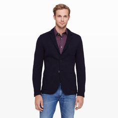 $289, Navy Knit Blazer: Club Monaco Crinkle Double Knit Blazer. Sold by Club Monaco. Click for more info: https://lookastic.com/men/shop_items/98724/redirect