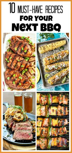10 must-have recipes for your next BBQ! There are so many yummy hot and cold recipes to choose from! Memorial Day recipes perfect for grilling. Barbecue Recipes, Grilling Recipes, Meat Recipes, Cooking Recipes, Healthy Recipes, Healthy Snacks, Fresco, Good Food, Yummy Food