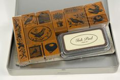 Cavallini Birds & Nests Rubber Stamp Set with ink pad $19.99 put a bird on it. For the back of place cards