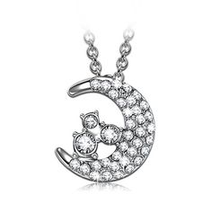 Valentines Day Gifts JNINA luna Moon Women Necklace Made with Swarovski Crystal Girl Pendant Jewelry Best Gift for Lover >>> Visit the image link more details.