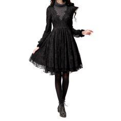 Artka Women's Elegant Lacework Embroidery Hugging Combo Swing Dress,Black,M