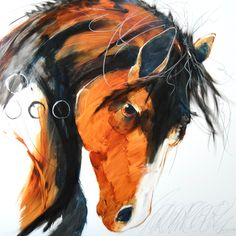 Nitro by Sarah Rogers. x mixed media on panel at Horizon Fine Art Gallery, Jackson,WY Water Colors, Vibrant Colors, Southwestern Paintings, Horse Art, Fine Art Gallery, Rocky Mountains, Impressionist, Crow, Art Projects