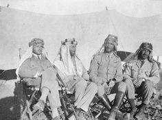 T E LAWRENCE ARAB REVOLT 1916 - 1918 (Q 59326)   Captain Montgomery, Lieutenant Garrood, Captain Garland and Lieutenant Clayton at Abu Markha, Wadi Ais.