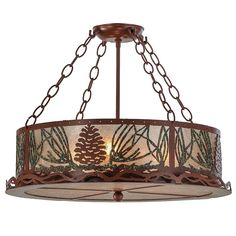 22 Inch W Mountain Pine Semi-flush mountThis handsome semi flush features Rust Pinecones withGreen finished needles on a Rust finished fixture. Wrought Iron Chandeliers, Lodge Decor, Rustic Lighting, Drum Shade, Pine Cones, Glass Shades, Bulb, Indoor, Ceiling Lights