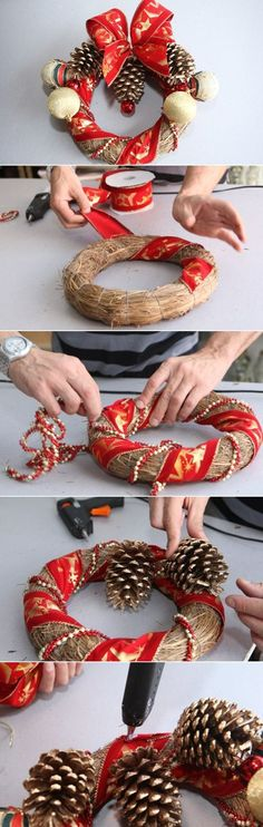 DIY Red And Gold Christmas Wreath