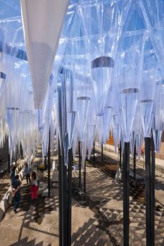 GUN architects: water cathedral 'water cathedral' by GUN architects, santiago, chile image guy wenborne; YAP CONSTRUCTO courtesy constructo all images courtesy GUN architectsopen to the sky, plastic cones capture water and slowly release drops over Canopy Bed Frame, Diy Canopy, Fabric Canopy, Canopy Tent, Ikea Canopy, Window Canopy, Backyard Canopy, Garden Canopy, Canopy Outdoor