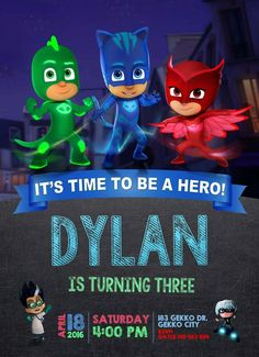 PJ Masks Invitation PJ Masks Birthday PJ by PartzyPartyDesigns