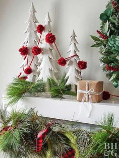 Holiday Decor Ideas : Pom Pom Garlands are an easy holiday DIY. See how you can make your own to dress up your holiday decor or display for any special occasion. Christmas Mantels, Christmas Love, Beautiful Christmas, Christmas Holidays, Christmas Wreaths, Christmas Decorations, Christmas Wedding, Merry Christmas, Pom Pom Garland