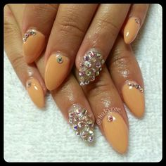 Mani-Q 'Melon' sculpted almond shape gel nails with Swarovski Crystals ♥ Follow me on Instagram @hakyree_