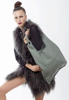 Grey Leather Hobo Bag  Every day Shopping Bag  by EleannaKatsira, €210.00