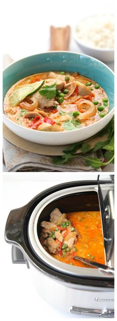 Slow Cooker Thai Chicken Soup from FoodieCrush is easy to get into the slow cooker and sounds amazing!  [Featured on SlowCookerFromScratch.com]