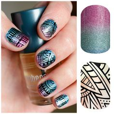 Mix & match your Jamberry nail wraps for a custom look! This Lost Ruins layered over Carnival!