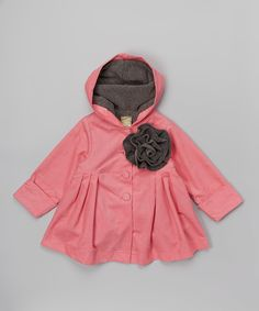 Pink Rosette Corduroy Hooded Swing Coat - Toddler & Girls on #zulily *so cute
