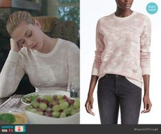 Betty's pink camouflage sweater on Riverdale. Outfit Details: https://wornontv.net/89743/ #Riverdale