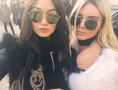 Kendall walked in the show with pal Gigi Hadid, while Kris and Kanye sat front row.Raven-haired Jenner and blond beauty Hadid did a hair color swap, Kris Jenner, Kendall Jenner Gigi Hadid, Kylie, Kourtney Kardashian, Kardashian Jenner, Fashion Week Paris, Nicki Minaj, Rose Gold Aviators, Ft Tumblr