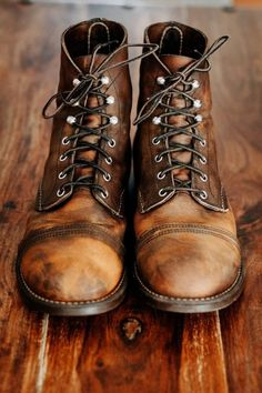 6 months of wear. Steampunk Boots Mens, Red Wing Iron Ranger, Gentleman Shoes, Red Wing Boots, Mens Boots Fashion, Walk In My Shoes, Style Retro, Sneaker Boots, Shoe Boots