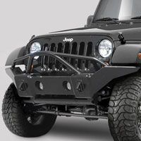 Jeep® Front Bumpers - Rampage - RPG 86510 - Rampage Products Marathon Bumper in Smooth Black with Grille Guard for 07-up Jeep® Wrangler & Wrangler Unlimited JK and other Jeep Wrangler Parts, Jeep Accessories and Soft Tops by FORTEC