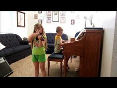 She is playing lots and relaxing a bit, but she is still practicing her violin hard.  She has learned a lot of songs this summer.    She learned a new song in her Suzuki Book that lets her pluck strings at the end called Gavotte from Mignon.  Here she is playing it with her brother—See more of young violinist #daughterA_from_beckalynn3